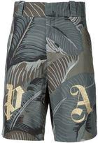 Palm Angels 'PA' banana leaf print shorts - men - Cotton - 46