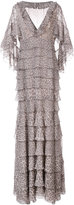 J. Mendel leopard print tiered cape gown