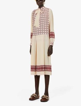 Ports 1961 Graphic-print silk midi dress