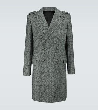 Balmain Double-breasted chevron wool coat