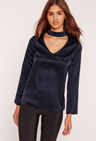 Missguided Petite Satin Choker Neck Blouse Navy
