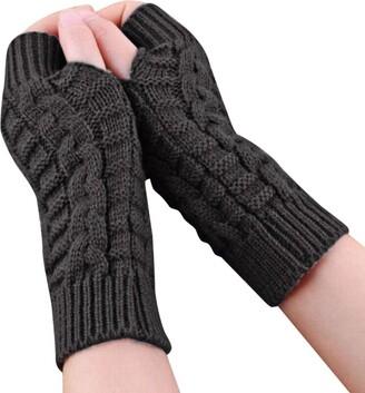 WYXlink Fashion Unisex Knitted Arm Fingerless Luxurious Thickening Warm Driving Outdoor Soft Warm Mitten (Gray)