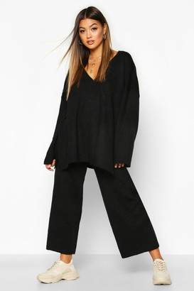 boohoo Oversized Slouchy Knitted Deep V Neck Two-Piece Set
