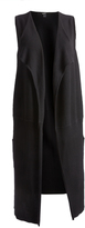 August Silk Black Ribbed Open Duster