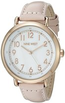 Nine West Women's NW/1726WMPK Easy To Read Rose Gold-Tone and Blush Pink Leather Strap Watch