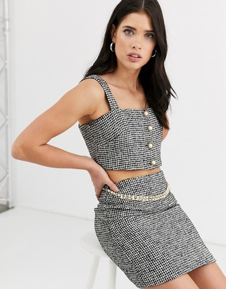 Fashion Union boucle structured top co-ord with pearl button