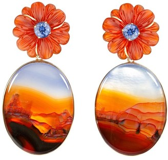 GUITA M 18kt Yellow Gold, Red Agate And Tanzanite Flower Earrings