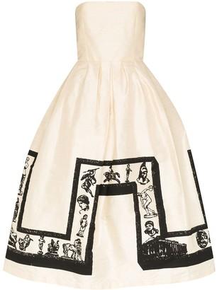 Ashley Williams Strapless Printed Midi Prom Dress