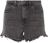 Alexander Wang Bite Frayed Denim Shorts - Gray