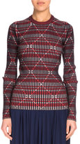 Kenzo Check Ribbed Wool Sweater, Pale Pink/Multicolor
