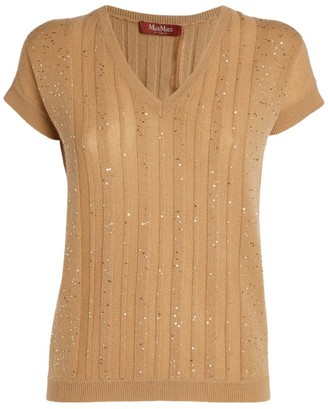 Max Mara Embellished Short-Sleeved Sweater