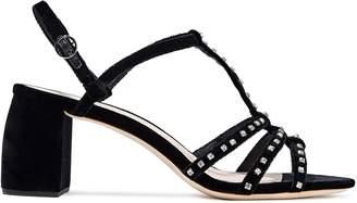 Loeffler Randall Elena Crystal-embellished Velvet Slingback Sandals