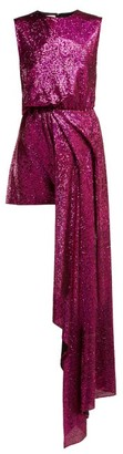 Halpern Sequinned Asymmetric Mini Dress - Pink