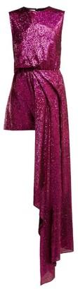 Halpern Sequinned Asymmetric Mini Dress - Womens - Pink