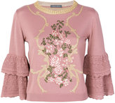 Alberta Ferretti floral embroidered frill sleeve sweater - women - Polyester/Viscose/Virgin Wool - 42