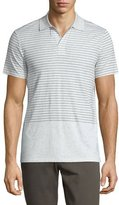 Vince Engineered-Stripe Short-Sleeve Polo Shirt, Heathered White