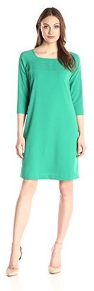 Lark & Ro Amazon Brand Women's Three Quarter Sleeve Smocked Dress