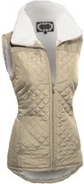 Hot From Hollywood Women's Zip Up Quilted Lightweight Puffer Vest with Pockets and Faux Fur Lining