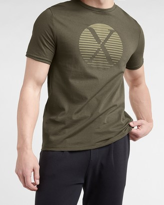 Express Olive Faded Logo Graphic T-Shirt