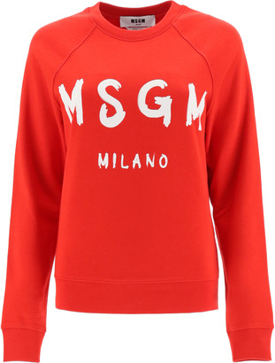 MSGM SWEATSHIRT LOGO BRUSH PRINT S Red, White Cotton
