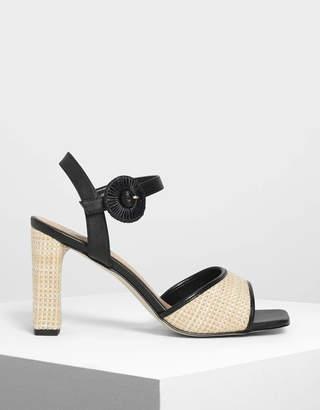 Charles & Keith Raffia Buckle Heeled Sandals