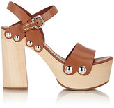 Prada Women's Ankle-Strap Clog Sandals-NUDE