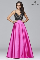 Faviana s7947 Long ball gown with appliqued bodice and mikado skirt