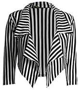Zara Fashion -Women 3/4 Sleeve Striped Waterfall Crop Blazer Jacket Top (XL, )