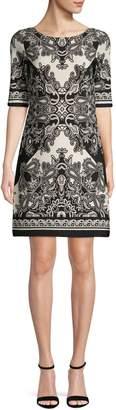 Eliza J Mixed-Print A-Line Dress