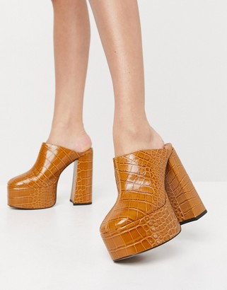 ASOS DESIGN Peco super high heeled mules in tan