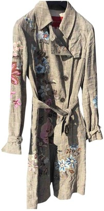 Gerard Darel Grey Linen Trench Coat for Women