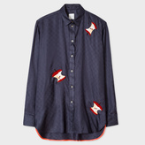 Paul Smith Women's Navy Silk-Twill Shirt With Embellished 'Apples'
