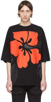 Palm Angels Black and Red Hibiscus Logo T-Shirt