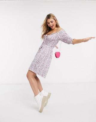 Pieces puff sleeve tie front mini dress