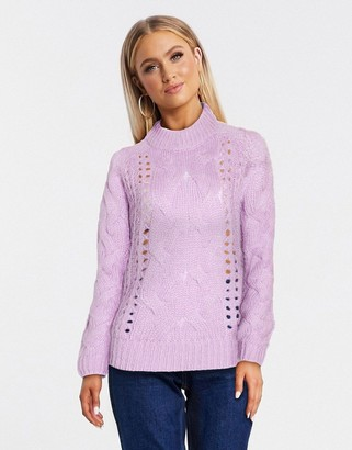 Pieces jyla cable knit sweater in lilac