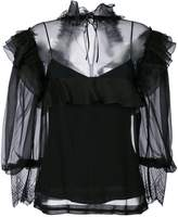 Alberta Ferretti ruffle and mesh blouse