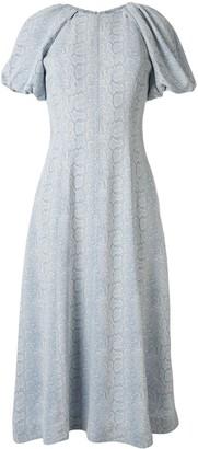 Rebecca Vallance Dondra python print midi dress