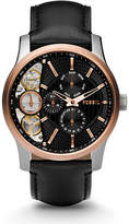 Fossil Mechanical Twist Black Leather Watch