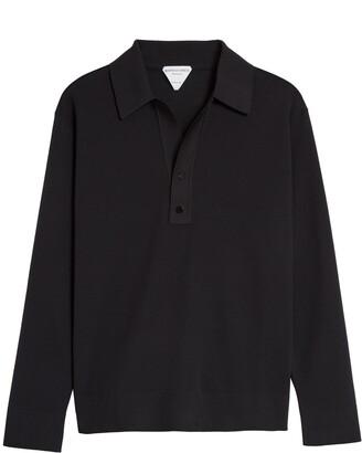 Bottega Veneta Black Long Sleeve Double Pique Polo