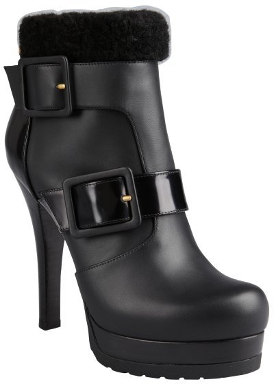 Fendi black leather and shearling trim dual buckle platform ankle boots
