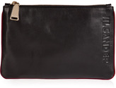 Jil Sander Leather Logo Embossed Pouch in Black/Cordovan