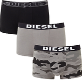 Diesel Shawn Camo Boxer Trunks, Pack Of 3, Black