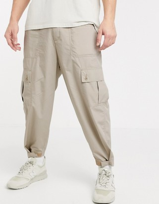 ASOS DESIGN wide leg cargo pants in ecru