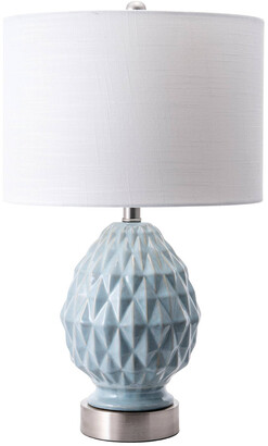 nuLoom 24In Textured Veronica Ceramic Egg Burlap Shade Table Lamp