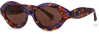 Alain Mikli N862 Purple Tortoiseshell Oval-frame Sunglasses