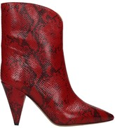 Isabel Marant Leinee High Heels Ankle Boots In Red Leather