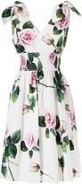 Dolce & Gabbana Rose Printed V-neck Flared Dress