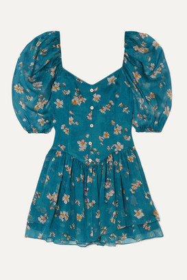 Caroline Constas Quinn Floral-print Silk-chiffon Mini Dress - Teal