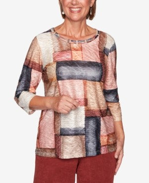 Alfred Dunner Petite Catwalk Watercolor Boxes Knit Top