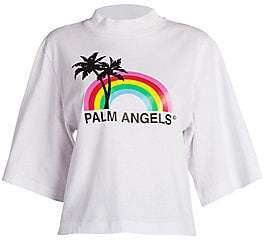 Palm Angels Women's Rainbow Graphic Cropped T-Shirt